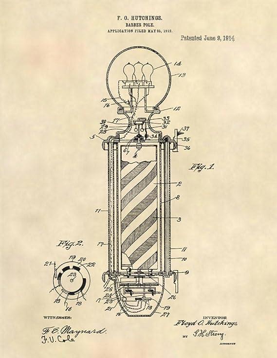 Gift For Barber Barber Shop Decor 1882 Barber/'s Clip Canvas Patent Print