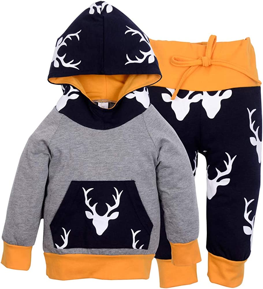 Toddler Infant Baby Boys Rabbit Print Long Sleeve Hoodie Tops Sweatsuit Pants Outfit Set Baby Outfits