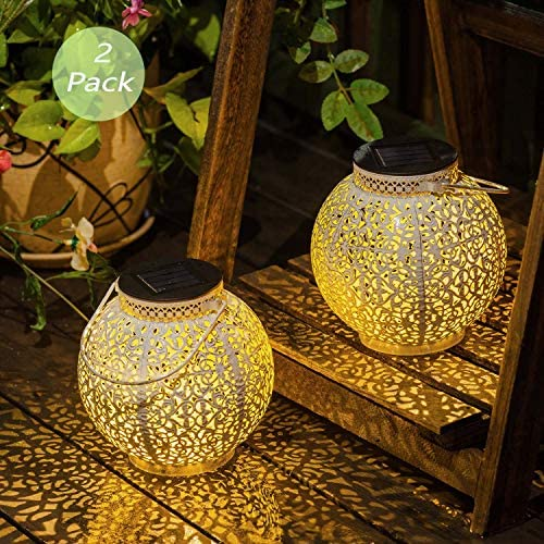 Set of 2 TAKE ME Solar Lantern Lights Outdoor,Garden Hanging Lights Metal Retro Lights Lamp for Patio,Outside or Table White