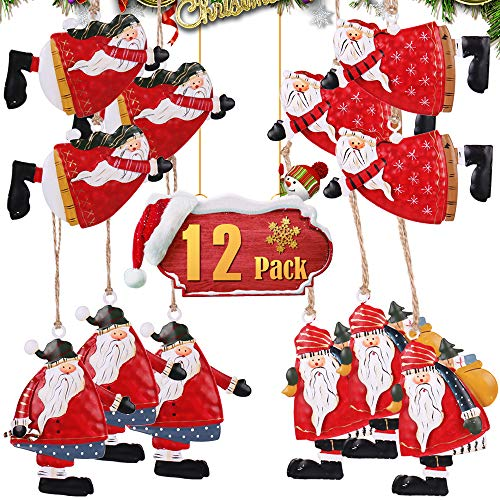 PartyBus Tin Santas Christmas Tree Ornaments, Country Style Xmas Home Decorations, Rustic Keepsake Figurine Gift Tags for Family Coworkers Friends, 12 Pack (Christmas Tin Santa)