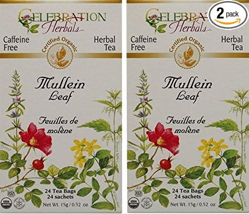 Celebration Herbals Organic Mullein Leaf Tea Caffeine Free - 2 Pack (48 Bags in Total)