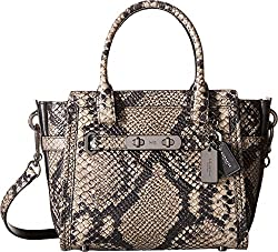 COACH Women's Stamped Snakeskin Coach Swagger 21 DK/Natural Satchel