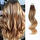 AmazingBeauty Sun-kissed Balayage Tape in Hair Extensions Invisible Double Sided Real Remy Human