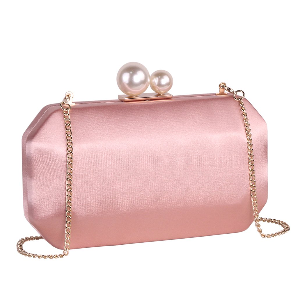 Pink Satin Clutch Purse Handbags with Pearls Closure for Women, Crossbody Hardcase Evening Bag with Strap Chain for Party
