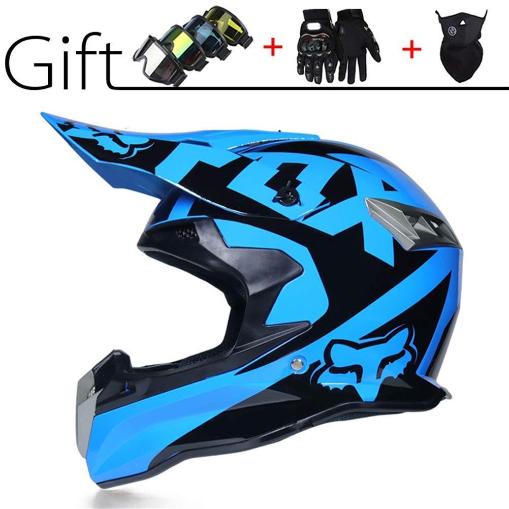 LSLVKEN Moto Quad Enduro Apto para Adultos y ni/ños Guantes de Motocicleta Large Casco de Motocross para Motocross 09
