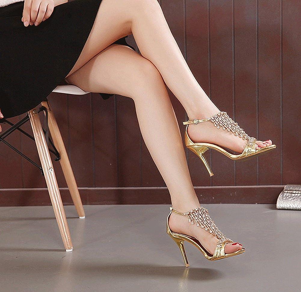 JAZS® Mode Schlanke High High Schlanke Heel Weibliche Sandalen Sexy New Style Fashion Süß Elegant Trendy Gold 8bbc01