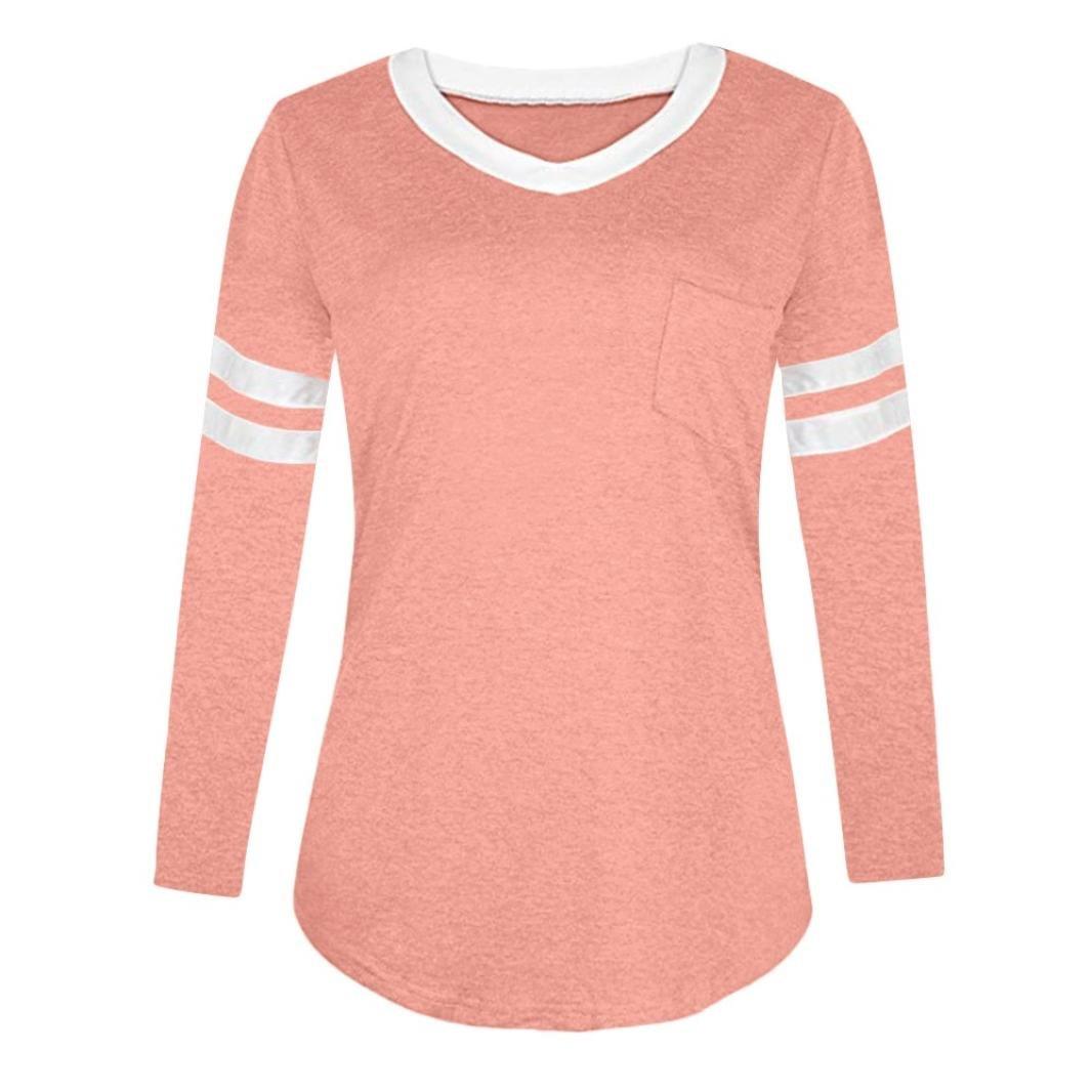 XOWRTE Blouse Women Long Sleeve T Shirt Casual V Neck Pocket Tops fashion