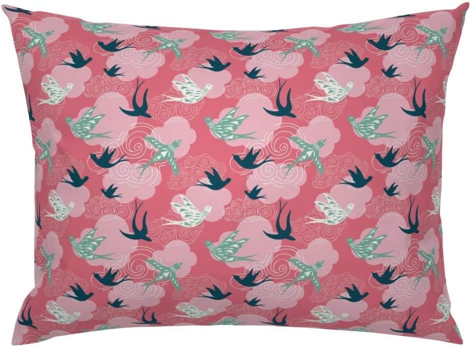 Love Birds Pillow Sham Flight Sky Wind Cotton Sateen Pillow Sham Bedding by Spoonflower Love And Swallows In The Air by thistleandfox