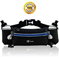No Bounce Reflective Hydration Running Belt with BPA Free Water Bottles, Hydration Waist Pack, Sports Waist Pouch for Hiking Running Jogging Climbing, Fits iPhone6, 6s Plus, Se, Samsung GalaxyS6/5 Note 4/3/2