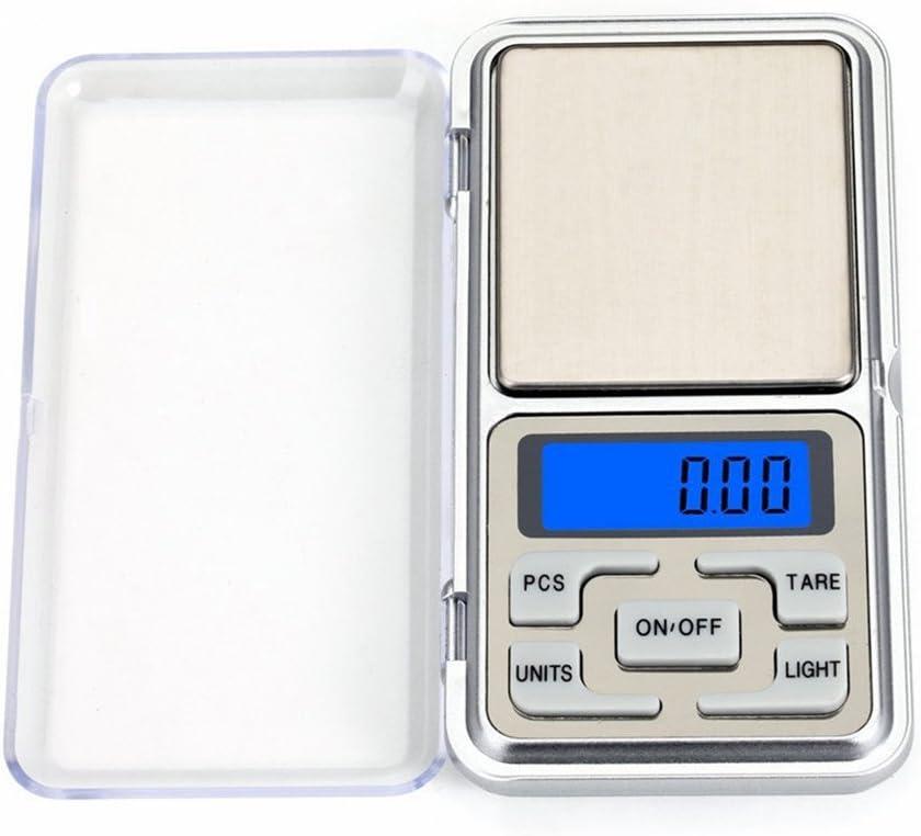 Hoosiwee Báscula Digitales de Bolsillo, 200g 0.01g Báscula de Cocina, Báscula de Joyería, Función de Tara, para Cocinar, Droga, Café