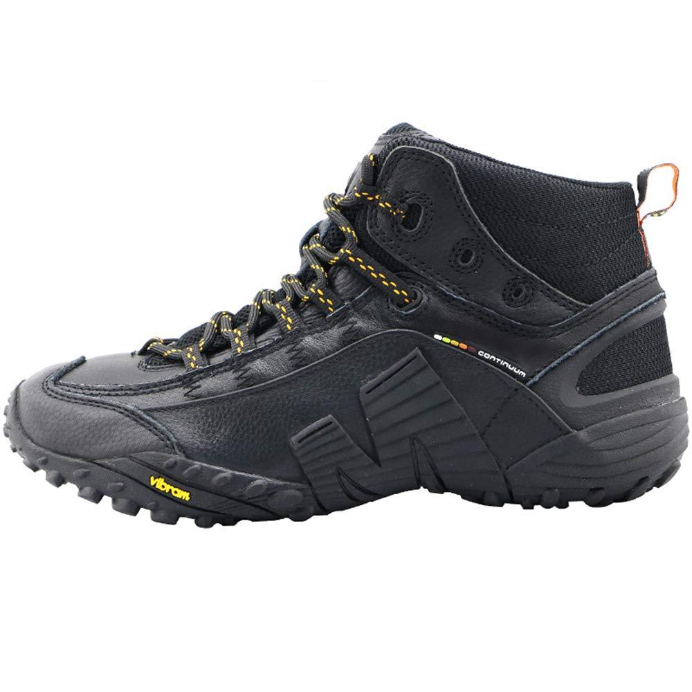 メンズアウトドアハイキングシューズ、カウハイドウォータープルーフウォームマウンテンロードライディングブーツ、カジュアル滑り止めウェアラブルハイキングシューズ、ハイキング、サイクリング、アウトドアスポーツに適していますZDDAB 黒