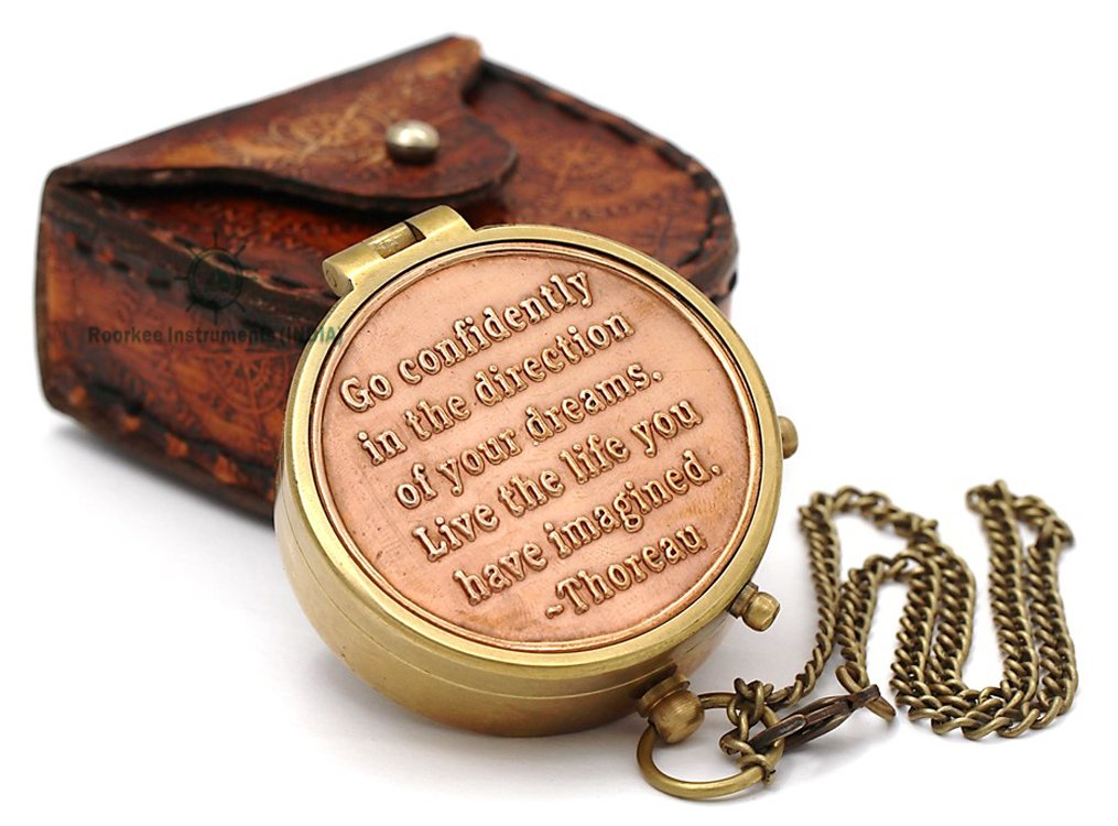 Thoreau's Go Confidently Quote Engraved Compass with Stamped Leather case