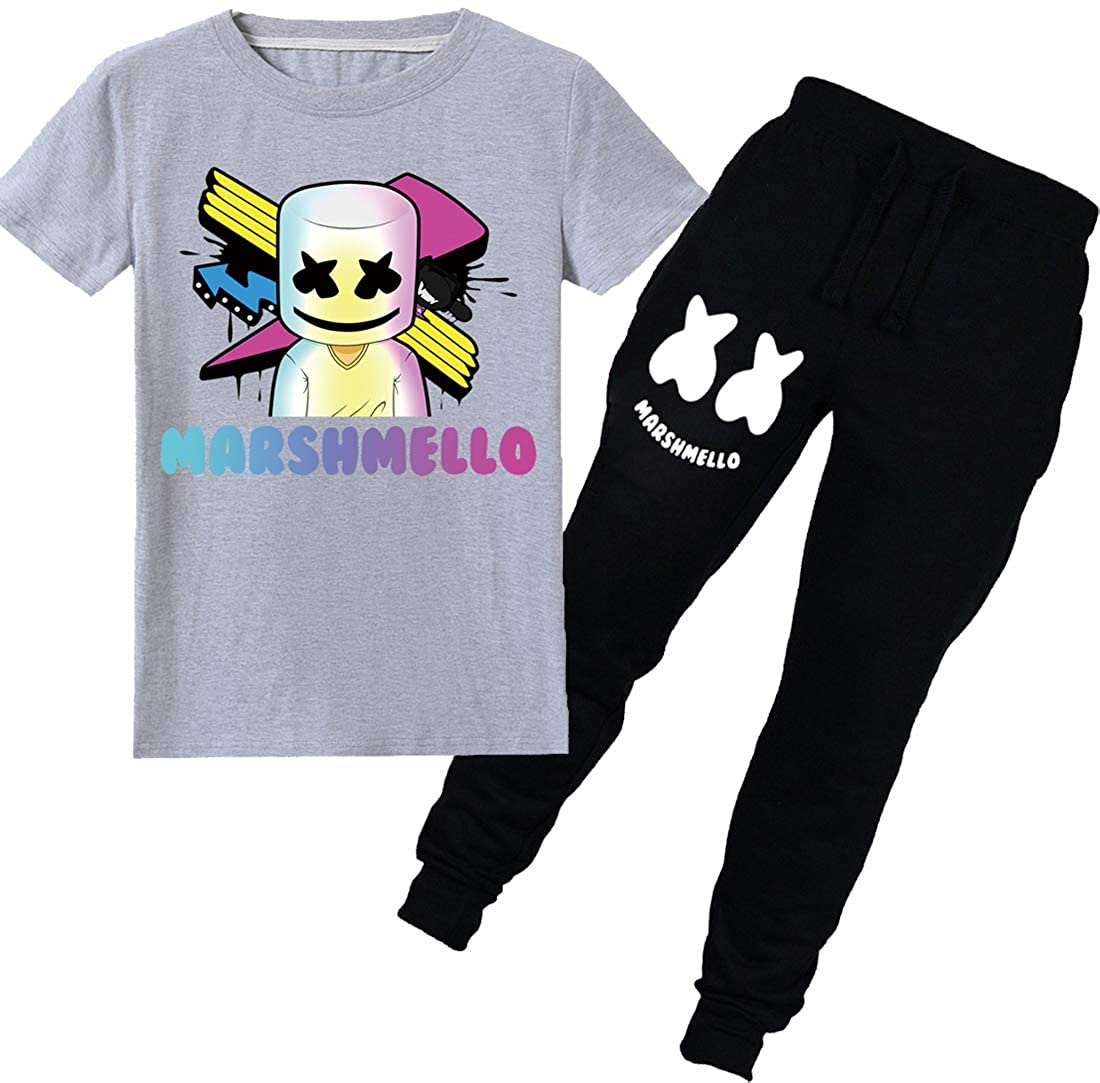 PANOZON Girls DJ Marshmello Sets Smile Mask Printed Short Sleeve Long Pants Two Pieces Suit