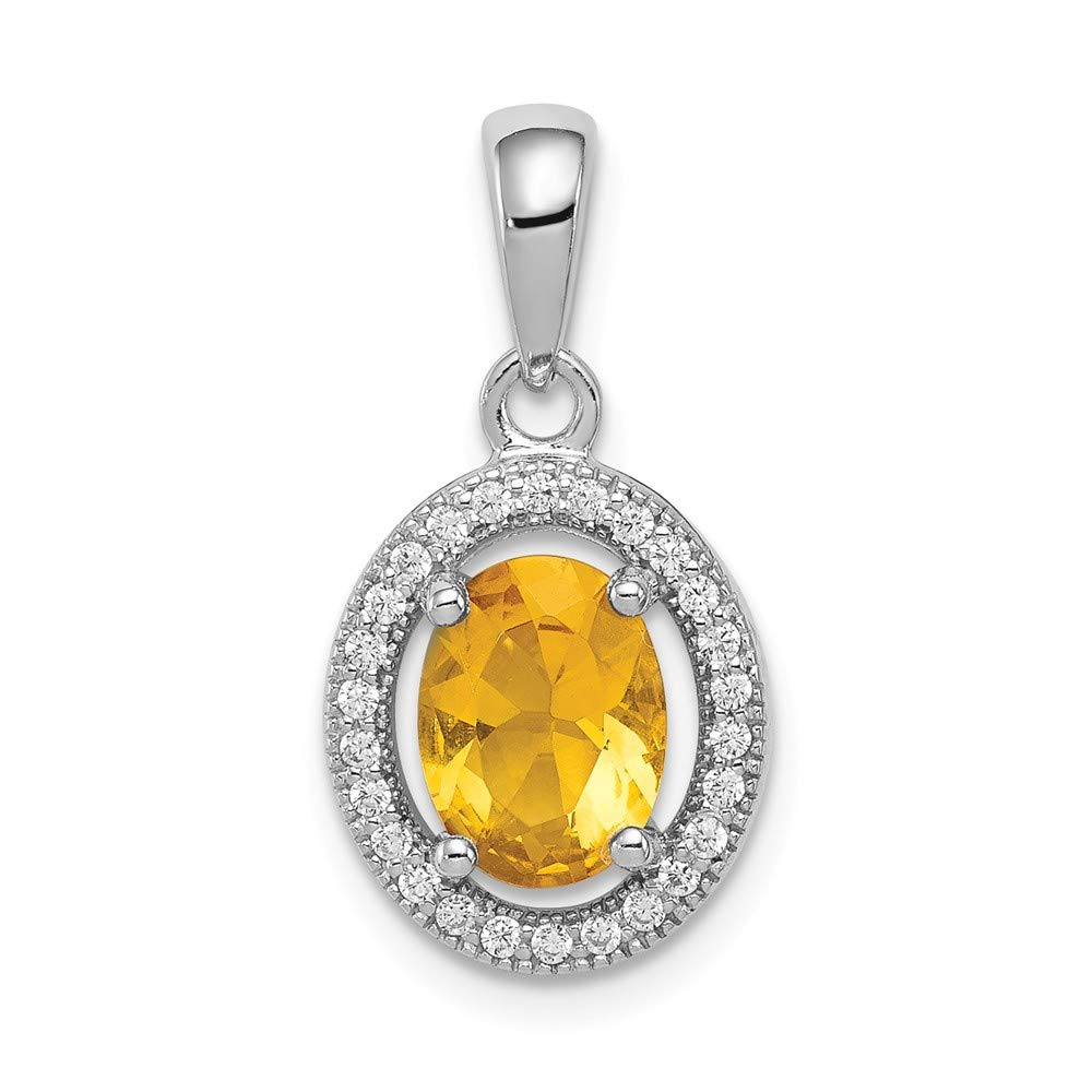 Sonia Jewels Sterling Silver with Yellow /& White CZ Cubic Zirconia Oval Pendant