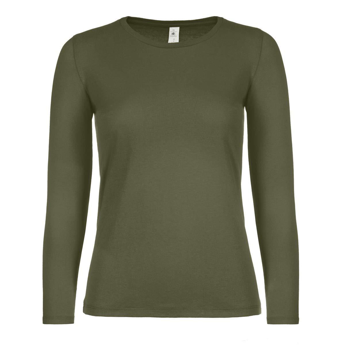 T-Shirt da Lavoro Donna Maglietta Maniche Lunghe 100/% Cotone B/&C E150 Stock