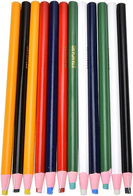 HEEPDD L/ápiz de Marca de Costura de 12 Piezas Colores Mezclados L/ápiz a Medida L/ápiz de Corte sin Costura Posicionamiento L/ápiz L/ápiz de Sastre para Coser Marcado y trazado