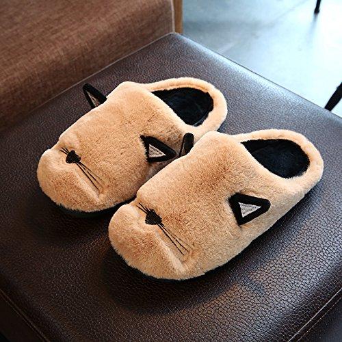 Fankou carino pantofole di cotone femmina cartoon inverno soggiorno anti-slittamento stereo spessa cat claw pantofole di cotone ,42-43,B- Brown