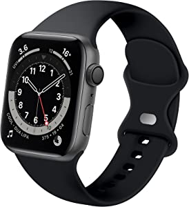 Distore Bands Compatible with Apple Watch 38mm 40mm 42mm 44mm, Soft Silicone Replacement Sport Strap for iWatch SE Series 6/5/4/3/2/1 Women Men, Black 38mm/40mm S/M