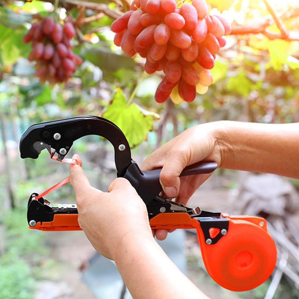 Stainless Steel Branch Tying Machine Upgraded Plant Tying Machine Tapener Tool for Grapes, Raspberries, Tomatoes and Vining Vegetables, Comes with Tapes, Staples and Two Replacement Blades