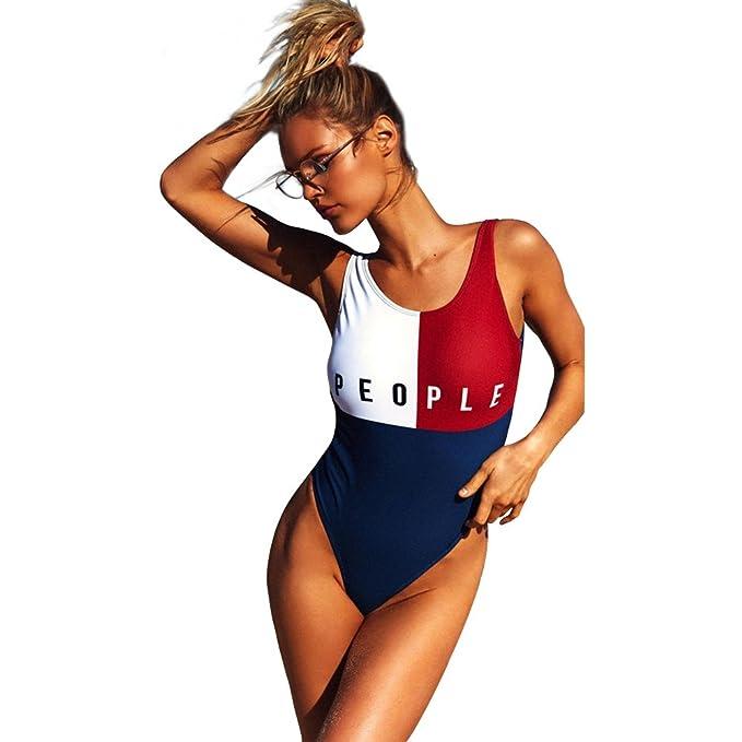 b78849c2ecf55 Belong U Woman's Sexy Halter High Waisted Halter Thong Brazilian Bikini Set One  Piece Swimsuit Swimwear Bathing