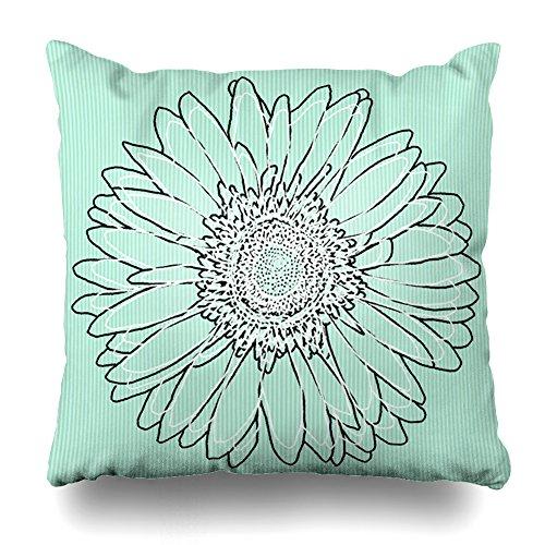 Pakaku Throw Pillows Covers for Couch/Bed 16 x 16 inch,Mint Green Gerbera Daisy Floral Art Home Sofa Cushion Cover Pillowcase Gift Decorative Hidden Zipper Summer Beach Sunlight