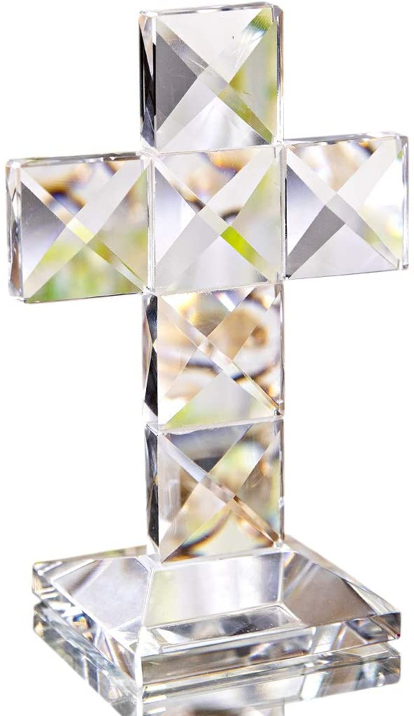 Crystal Cross Traditional Standing Cross On Base Clear 4.7x3.1 inches Glass Tabletop Figurine