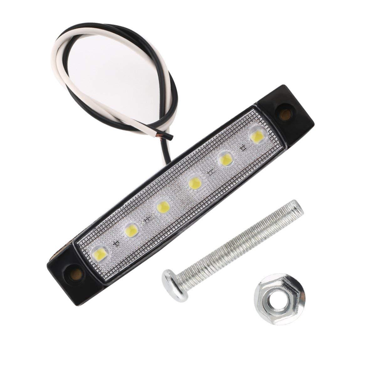 Rojo 12V 6 LED Remolque Cami/ón Despacho Marcador lateral Sumergible Ancho de luz L/ámpara Veh/ículo Indicador externo Universal Luz de advertencia