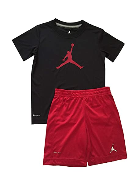 82f891ac5c44f0 Amazon.com  Air Jordan Little Boys Dri-Fit 2 Piece Tee Shirt and Shorts Set  Gym Red Black Size 4  Sports   Outdoors