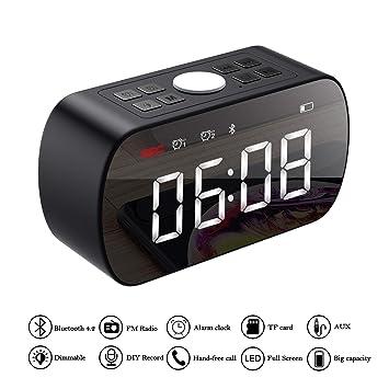 ERAY Altavoz Bluetooth + Despertador Digital, LED Pantalla de Reloj con Espejo, 2 Alarmas Programables, Luz Nocturna, FM Radio, Soporta TF Tarjeta, ...