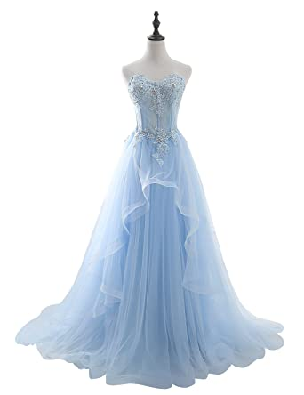 b9111bc39af6e Lagrace Women's Strapless Wedding Dress Applique Beaded Long Tulle Ball Gown  Prom Dress LAGSH055 Sky Blue