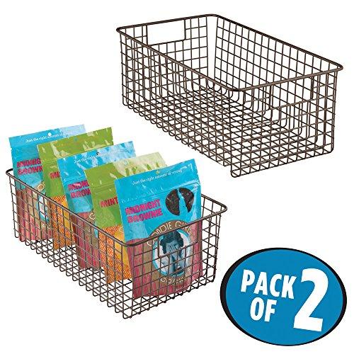 mDesign Deep Wire Storage Basket for Kitchen, Pantry, Cabinet - Pack of 2, Bronze (Bronze Wire Basket)