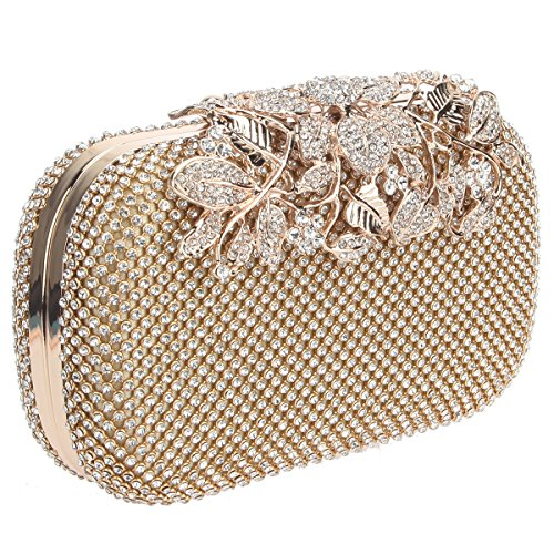 Gold Bonjanvye Rhinestones Purses Ab Flower Evening Black Crystal Clutch Bags With nCCrUawv
