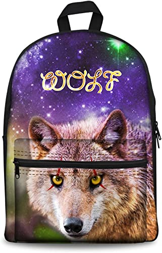 Coloranimal Lightweight Canvas Backpack for Men Animal Wolf Galaxy Packs