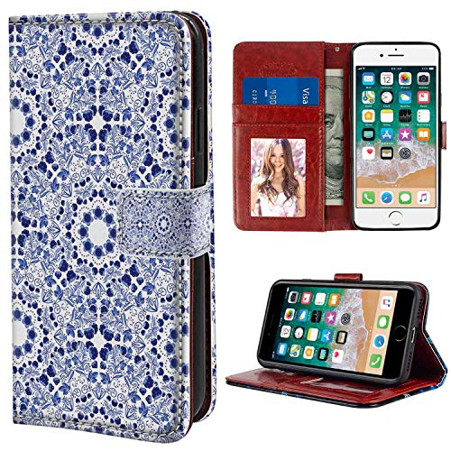iPhone 7, iPhone 8 Wallet Case, Flower Middle Eastern Swirl Petals with Ethnic Ottoman Folk Art Effects Boho Arabesque Design Blue PU Leather Folio Case with Card Holder and ID Coin Slot