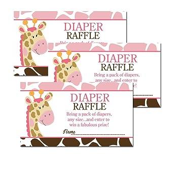 Pink Giraffe With Giraffe Print Baby Shower Diaper Raffle Tickets 20 Pack
