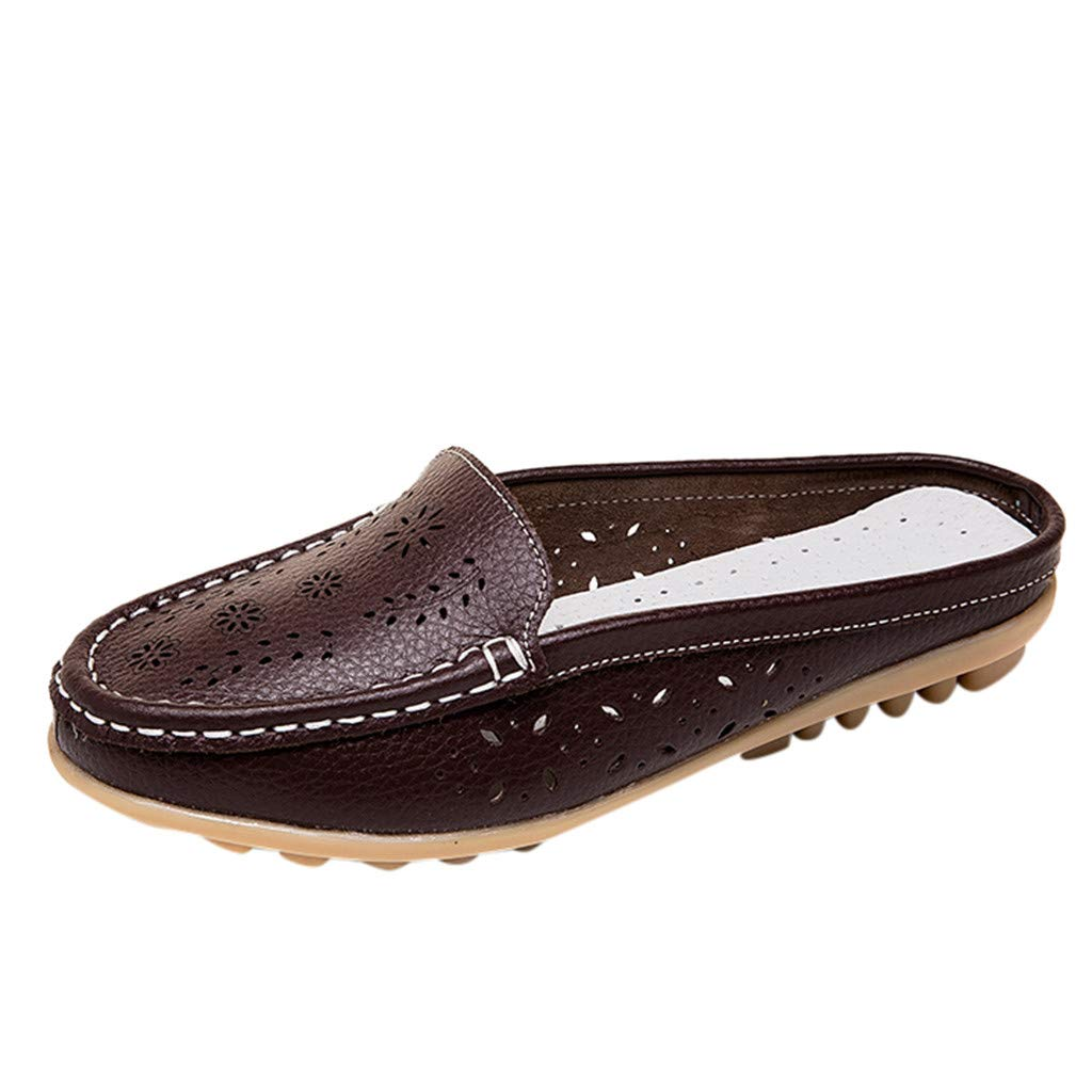Leather Leather,👍ONLY TOP👍 Women Casual Summer Breathable Slip-On Backless Slipper Mule Loafer Flats Shoes Hollow Out