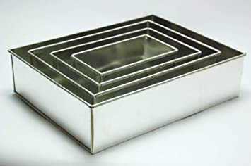 Euro Tins 4 moldes de tarta de cumpleaños aniversario de boda latas rectangulares sartenes: Amazon.es: Hogar