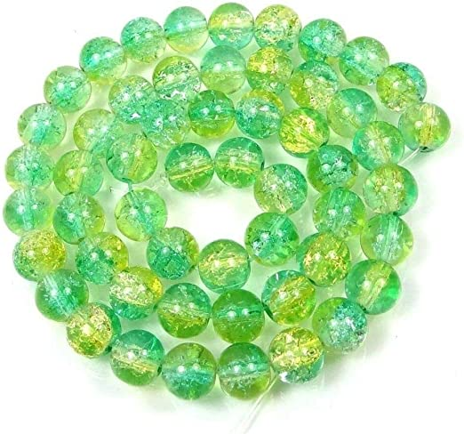 50 Beads // 16 Green//Yellow 8mm Czech Glass Crackle Cracked Round Beads