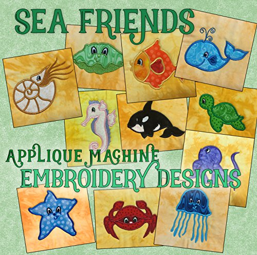 Threadoodle Embroidery Designs - Applique Sea Friends - Multiformat Machine Embroidery Pattern CD includes ART ART70 PES JEF EXP XXX VIP HUS DST For the 4x4 Hoop (Best Friend Embroidery Design)