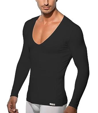 super popular 0e2d9 aa9ce Doreanse Shirt Langarm tiefer V-Ausschnitt Herren Langarmshirt Mens Muscle  Fit T-Shirt Deep-Neck