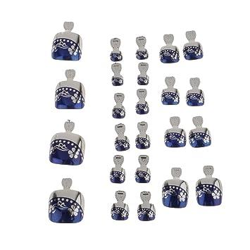 Generic 24 piezas Toe pies uñas postizas Metallic Cubierta completa puntas Pedicura falsa decoración para uñas Nails Art #1: Amazon.es: Belleza
