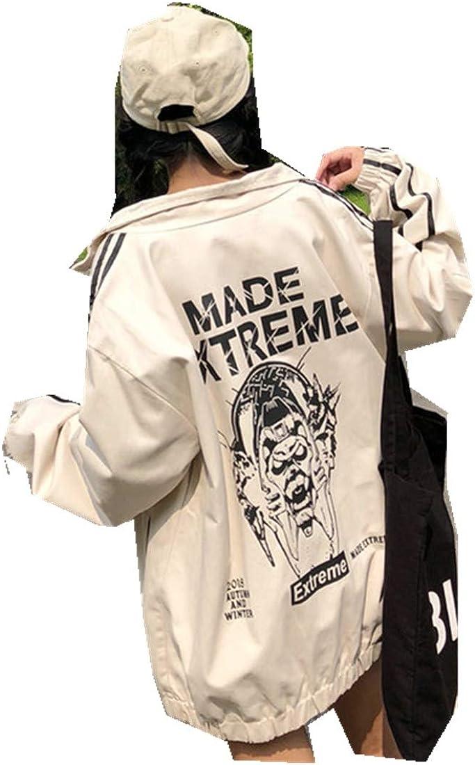 MV Autumn New Korean Print Hip Hop Loose Harajuku Baseball Uniform Jacket