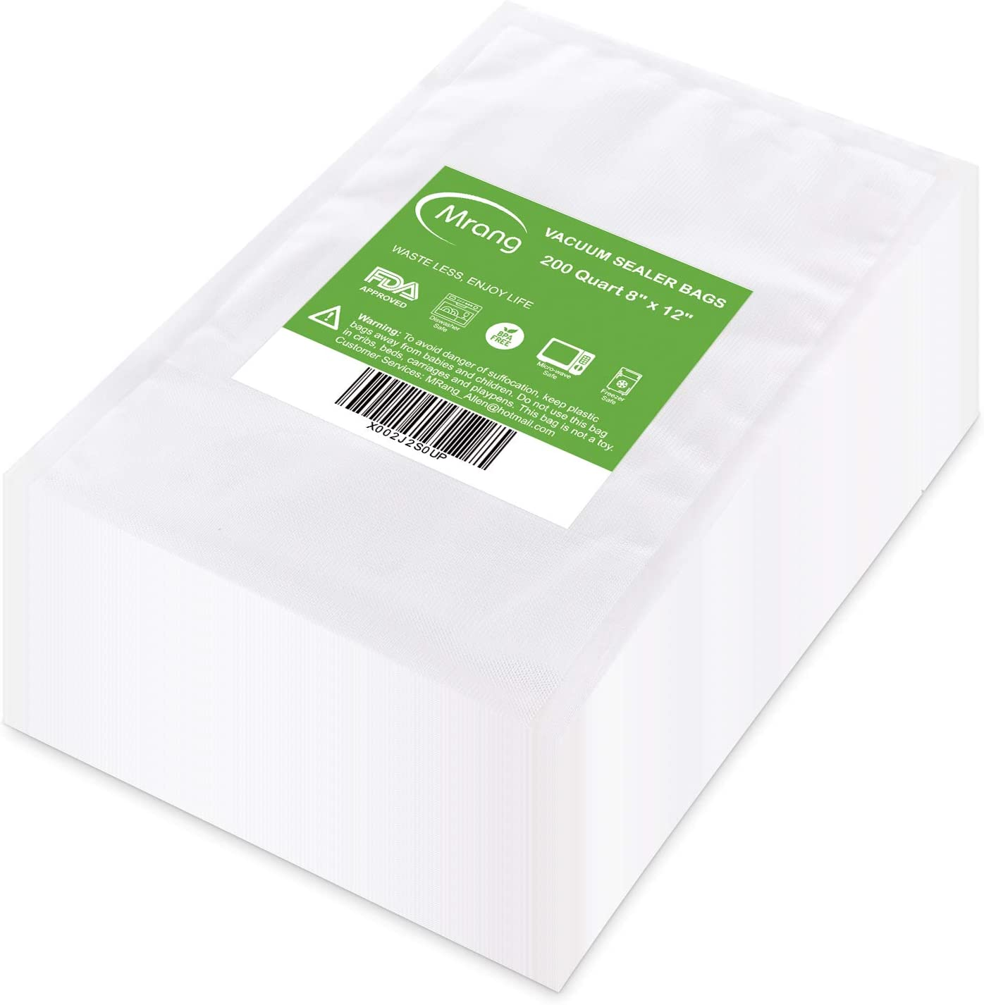 Vacuum Sealer Bags 200 Quart 8 x 12 Inch for Food Saver, Seal a Meal, Commercial Grade, BPA Free, Heavy Duty, Great for vac storage, Meal Prep or Sous Vide