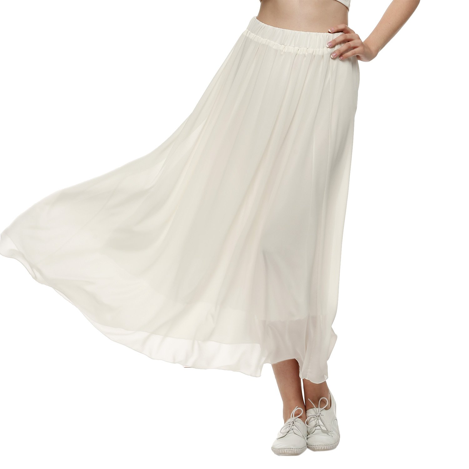 ACEVOG Women Double Layer Chiffon Pleated Long Maxi Elastic Waist Skirt White XXL