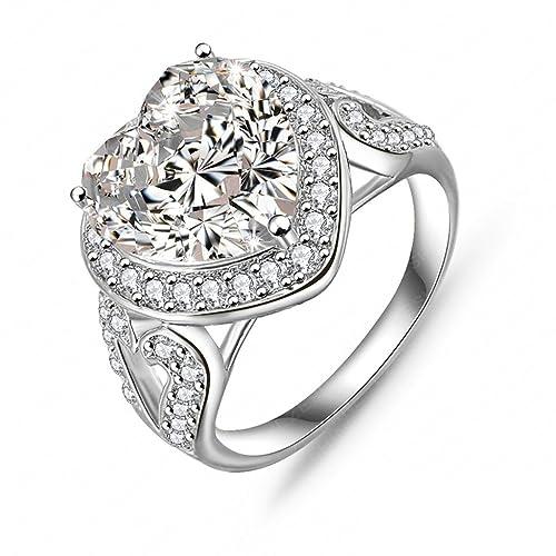 bishilin 18 K chapado en oro de moda de las mujeres anillos grandes en forma de corazón Circonita, Color blanco boda banda tamaño 9: Bishilin: Amazon.es: ...