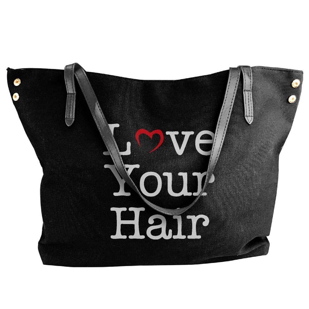 Women's Canvas Large Tote Shoulder Handbag Love Your Hair Hobo Bag