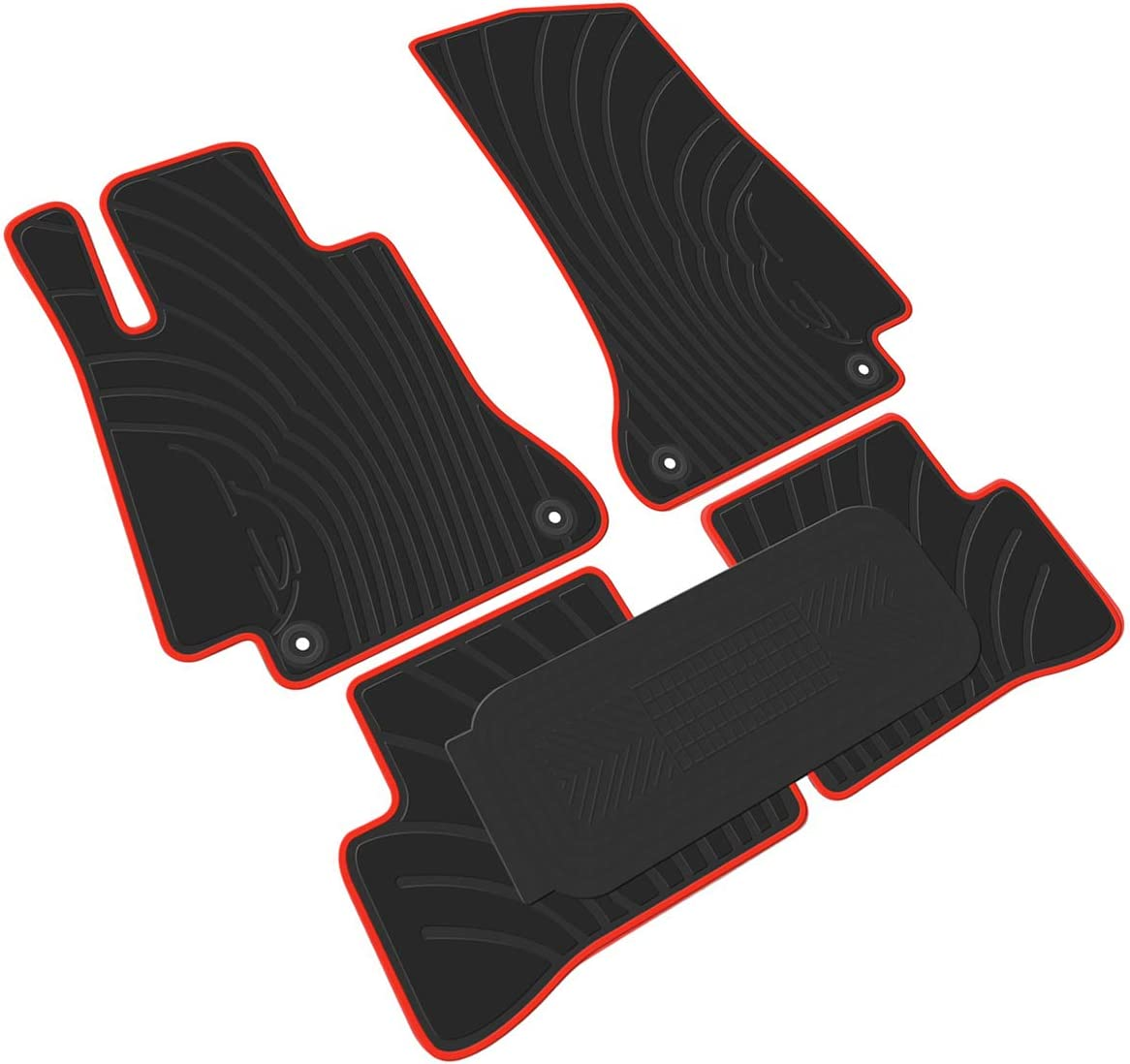 US Leather 5pcs Car Floor Mats Front+Rear Black All Weather Interior Mat Carpet