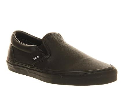 Vans Vans Classic Slip On Black Mono Leather - 3 UK  Amazon.co.uk ... 10ad64cc6