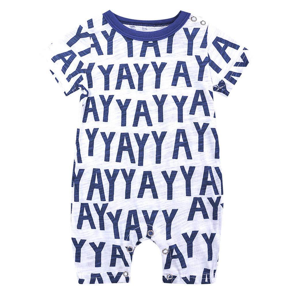 Toddler Newborns Girls Boys Cartoon Floral Print BabySuits Outfits Short Sleeve Pants Pajamas RomperJumpsuits (Blue, 3-6 M)