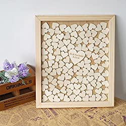 Personalised Wedding Guest Book Rustic Drop Top Box Wedding Alternative Signature GuestBook 40x50 CM with 150 Pcs Wooden Hearts